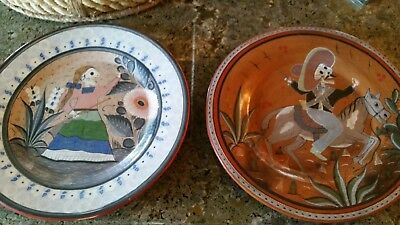 Pair of Day of the Dead Large Plate Plates by JAVIER RAMOS LUCANO Made is Mexico