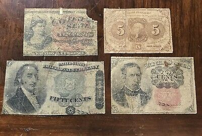 Lot of Four Different Old US Fractional Currency Notes 1863-1875 .99 Start