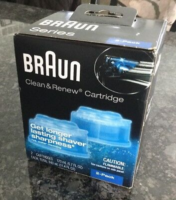 New 2-Pack 2 Braun Clean & Renew Cartridges Shaver Cleaning Refills