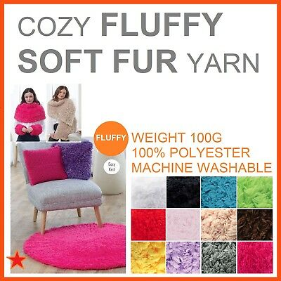 12x SUPER Soft COZY FLUFFY FUR Knit CHUNKY YARN Knitting Wool Crochet 100G Balls