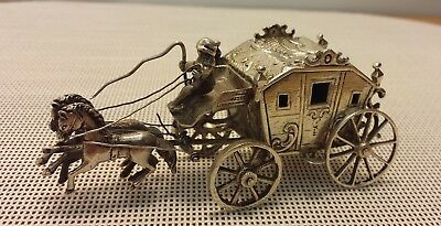 Victorian Silver Miniature Coach With Two Horses - Detailed Design