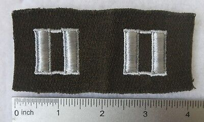 WW2 US ARMY PATCH with Set CAPTAIN OFFICER RANK INSIGNIA on CHOCOLATE GABARDINE