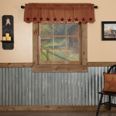 Burgundy Star Scalloped Check Country Cottage Lined Window Valance