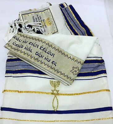 "Messianic prayer shawl ""Tallit"" 72x22IN Med Blue w/ Yarmulke and Mezuzah"