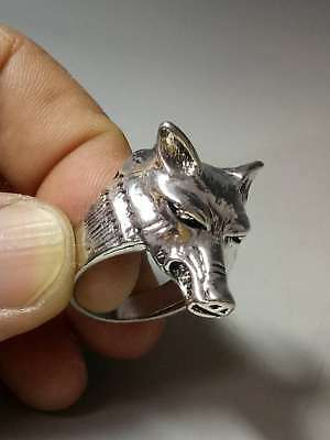 Chinese Collectable Tibet Silver Hand Carved Wolf Head Ring