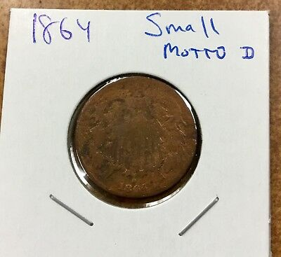 {BJSTAMPS} 1864 Small motto Two cent piece and large motto for comparison