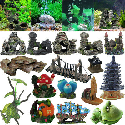 Aquarium Resin Stones Carving Ornament Fish Tank Supplies Underwater Decor Lot