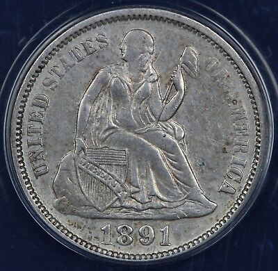 1891 10c Seated Liberty Dime ANACS AU 55 DETAILS CLEANED