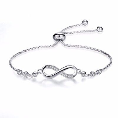 Friendship Bracelet Silver Plated Infinity Adjustable Charm Girls Accessories