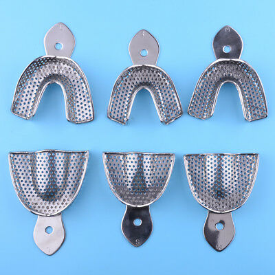 6pcs Upper Lower Vintage Dental Autoclavable Metal Perforated Impression Trays