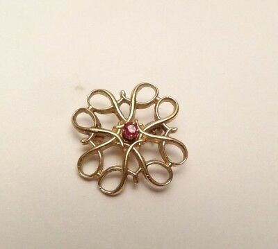 VINTAGE BEAUTIFUL SMALL FILIGREE BROOCH PIN 10k GOLD FILLED GF