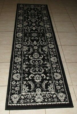 New Black Persian Traditional Design Floor Hallway Runner Rug 67X230Cm