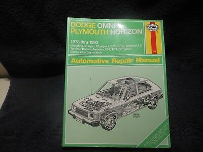 Haynes Dodge Omni & Plymouth Horizon Repair Manual 1978 to 1990 Shelby Charger