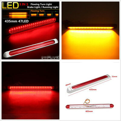 Waterproof 48LED Dual Color Car Flow LED Brake Light Strip Turn Signal Universal