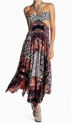 c8a61ba9b55 Free People NEW Black Womens Size 2 Halter Floral Cut Out Maxi Dress  228  962