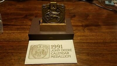 1991 John Deere MODEL A TRACTOR Calendar Medallion with Wooden Stand