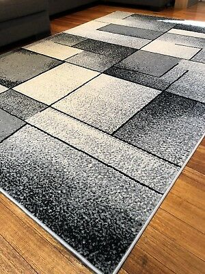 Deanna Grey White Black Abstract Modern Rug All Sizes FREE DELIVERY