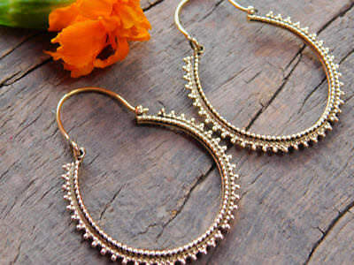 Fine Tribal Ethnic Gypsy Boho Vintage Brass Hoops Earrings Jewelry Antique Style