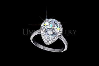 Wedding Rings For Women White Gold Color Big 4 Carat Pear Cut Cubic  Zirconia CZ