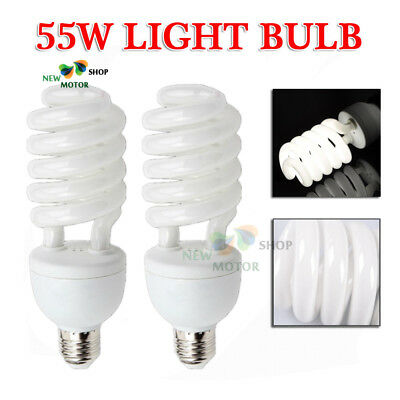 2pc 55W Energy Saving CFL Light Bulb 5500K Daylight Spiral Bulb Lamp Photography