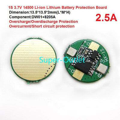 1S 3.7V 2.5A For Li-ion Lithium 14500  Battery Over/Dis-charge Protect BMS Board