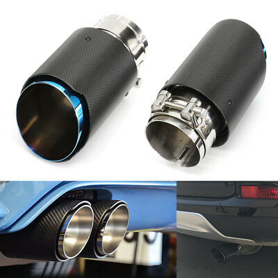 2pcs 2.5'' 3'' Carbon Fiber Exhaust Pipe Tail Muffler End Tip 63mm In 89mm Out