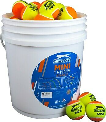 Slazenger Mini Tennis Balls Orange Bucket Stage 2 (5 doz) (60 Balls)