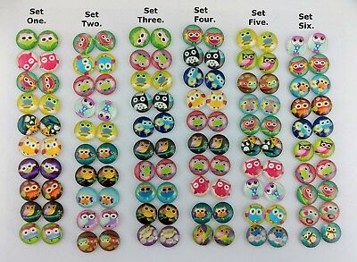 20pc 12mm Owl Glass Domed Cabochons Cartoon Animal Themed DIY Party Favor FBC132