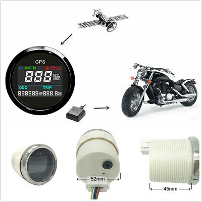 Black&Silver Bezel 52mm Motorcycles LCD GPS Speedometer Digital Multi-indicator