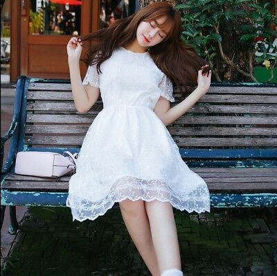2a6269fdc2 2018 Casual Korean Style A-line Short Sleeve Sweet Cute Summer Long Lace  Dress
