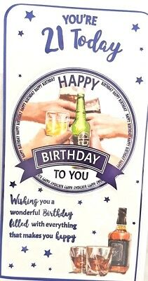 21st BIRTHDAY CARD MALE AGE 21 DRINK DESIGN QUALITY NICE VERSE BY BGC
