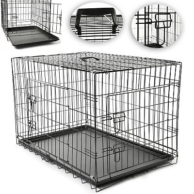 TRESKO Pet Dog Puppy Cat Training Cage Crate Carrier Metal Two Door All Sizes