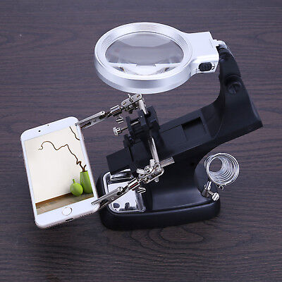 10LED Stand Clip Helping Hands Magnifying Glass Welding Magnifier Soldering Iron