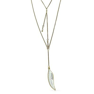 Bling Jewelry Gold Plated White Bone Feather Boho Layer Lariat Necklace 35in