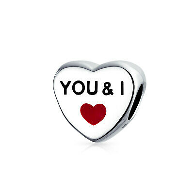 3620e43e6 Bling Jewelry Red Enamel Heart You and I Heart Charm Bead 925 Sterling  Silver