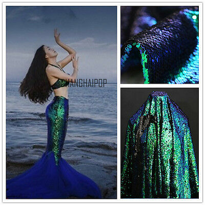 5mm Sequin 2 Way Scale Fabric Reversible Iridescent Mermaid Peacock 100 125cm