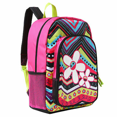 17 inch Flower & ZigZag Pattern Kids School Book Bag / Backpack for Girls