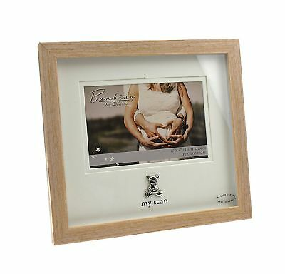 Wooden My Scan Baby Photo Frame Silver Teddy Icon Gift Boxed Present Pregnancy