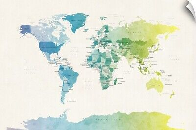 Wall Decal entitled Watercolour Political Map of the World
