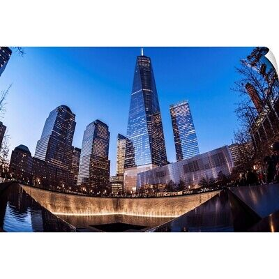 Wall Decal entitled World Trade Center memorial at twilight, World Trade Centre,