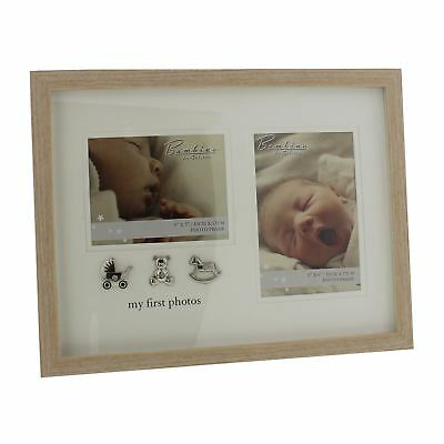 Wooden My 1St Baby Photo Frame Silver Icons Teddy Horse Pram Gift Boxed Present