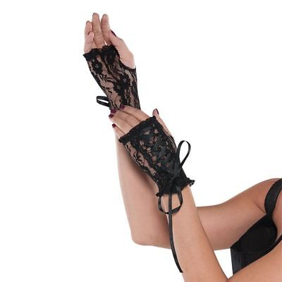 Adult Ladies Gothic Black Lace Up Gloves Glovelettes Vampire Halloween Accessory