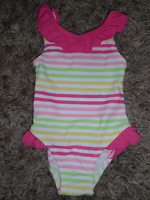 MOTHERCARE Lovely Baby Girls Stripey Swimming Costume 0-3 Months Swim Suit NEW