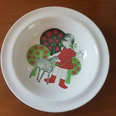 Vintage Arabia Finland Finel Child's Bowl - Girl with Lamb - 1960s Mid Century