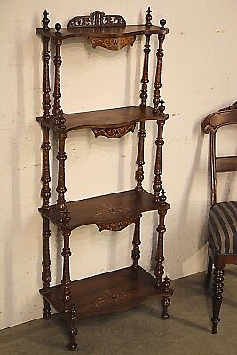 Antique English Whatnot 4 tier stand 1880 bookshelves ornate carving marquetry