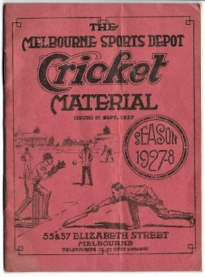 Rare Melbourne Sports Depot Cricket Material Season 1927-8 Stores Catalogue
