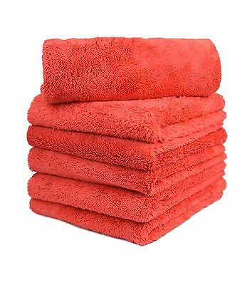 """6pcs Microfiber Towel Edgeless Scratch Free Cleaning Clothes 16""""x16"""" Red"""