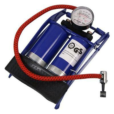 Double Cylinder Barrel Foot Pump Bike Car Van Tyre Air Inflator