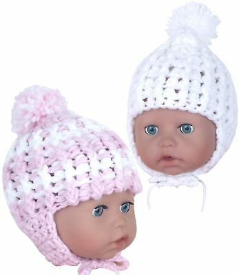 BabyPrem Baby Clothes baby Girls Pink Knitted Hat with Pom Pom & Ties Newborn-3m