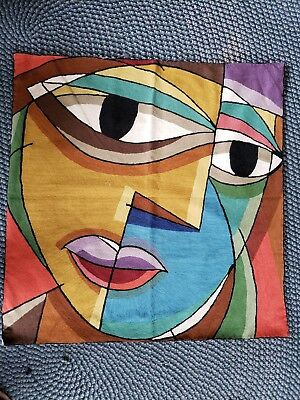 Mid Century Modern Abstract Geometric Tapestry  Vtg Wall Art  Textile